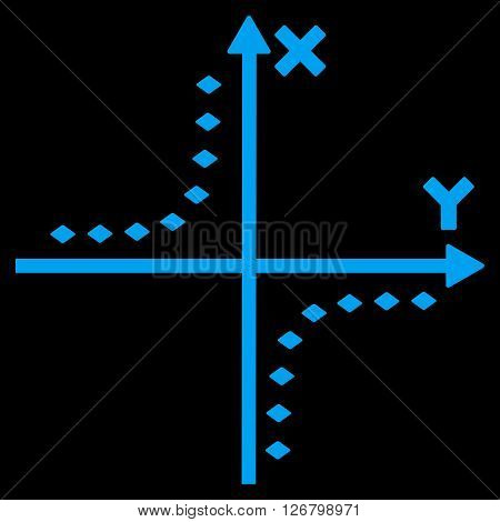 Dotted Hyperbola Plot vector toolbar icon. Style is flat icon symbol, blue color, black background, rhombus dots.