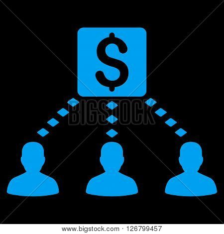 Money Recipients vector toolbar icon. Style is flat icon symbol, blue color, black background, rhombus dots.