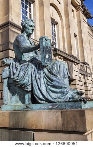 A statue of famous Scottish philosopher David Hume situated along the Royal Mile in Edinburgh Scotland.