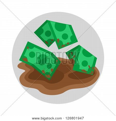 Dirty money in puddle flat color icon, cartoon vector illustration of grime money finance