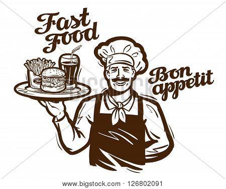 fast food vector logo. restaurant, cafe or diner icon