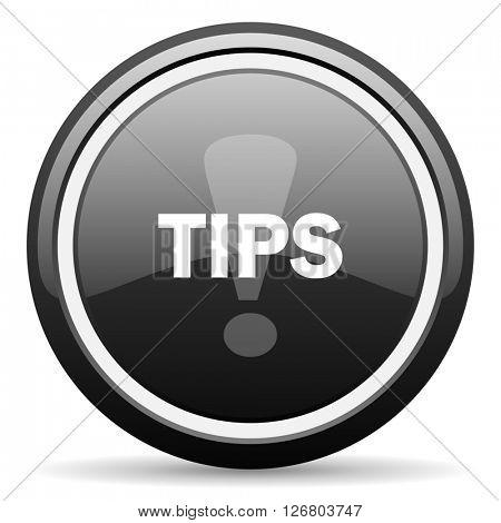 tips black circle glossy web icon