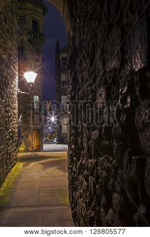 The beautiful Lady Stairs Close in the city of Edinburgh Scotland. ** Note: Visible grain at 100%, best at smaller sizes