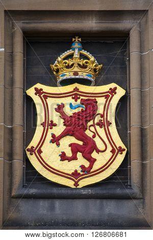 The Lion Rampant crest above the main entrance at Edinburgh Castle in Scotland.