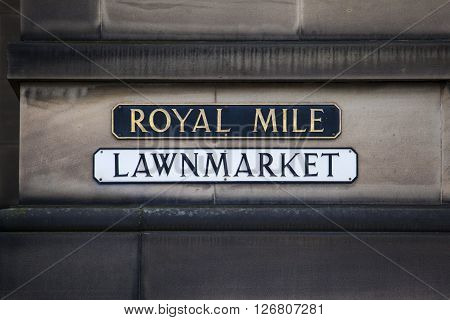 EDINBURGH, UK - MARCH 9TH 2016: A street sign for Lawnmarket which is situated on the historic Royal Mile in Edinburgh, on 9th March 2016.