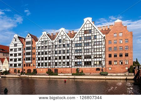 Old historic granaries on the Granary Island in Gdansk Poland