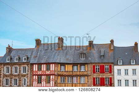 Panoramic view of typical French houses Bretagne