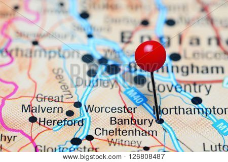 Banbury pinned on a map of UK