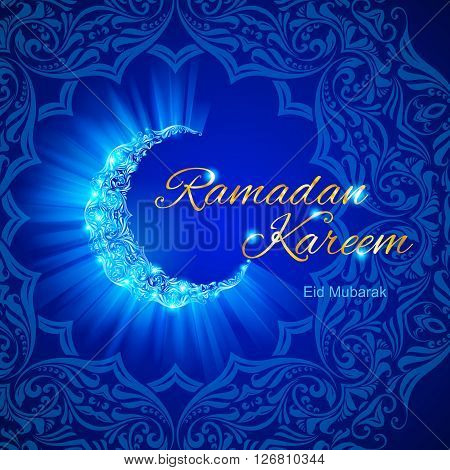 Glowing ornate crescent with intricate floral pattern in blue shades. Greeting card of holy Muslim month Ramadan