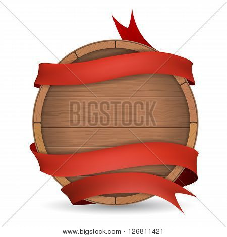 Wooden barrel wrapped in red ribbon. Wooden label for wine making brewing.