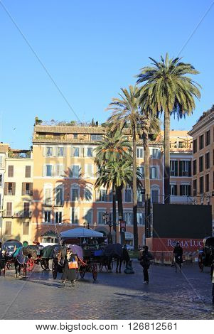 Rome, Italy - December 20, 2012: The Piazza Di Spagna In Rome, Italy