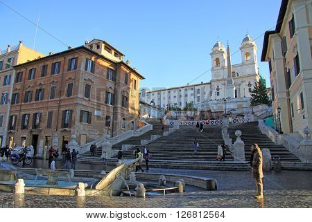 Rome, Italy - December 20, 2012:  The Piazza Di Spagna And The Spanish Steps In Rome, Italy. The Spa