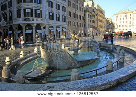 Rome, Italy - December 20, 2012:  Fontana Della Barcaccia (fountain Of The Old Boat) On The Piazza D