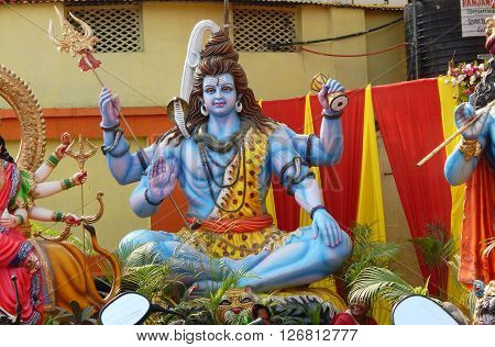HYDERABAD,INDIA-APRIL 22: closeup of Hindu God Shiva in a temporary temple out doors on Hanuman jayanti celebration and procession April 22,2016 in Hyderabad,India