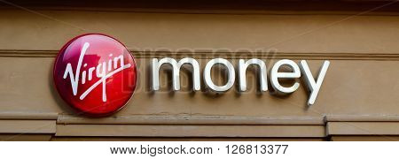 GLASGOW SCOTLAND - JANUARY 22 2016: Sign for Virgin Money retail on a building in Glasgow Scotland.