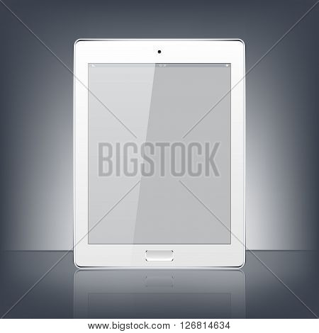 Modern white digital tablet PC isolated on the black background. Science and technology concept. Vector Illustration.