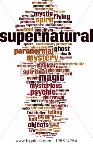 Supernatural word cloud concept. Vector illustration on white