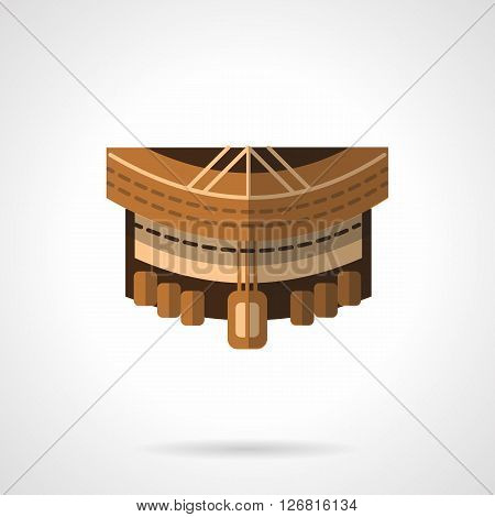 Front view of brown deck for longboarding. Sport equipment. Spare parts and structure of longboard. Flat color style vector icon. Web design element for site, mobile and business.