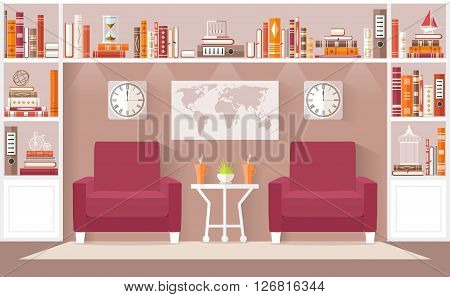 Interior design living room in the flat style. Vector illustration. Interior Concept. The living room an office or a library with furniture bookcases.