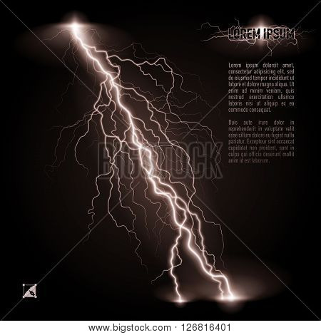 White oblique branchy lightning line. Illustration with space for text