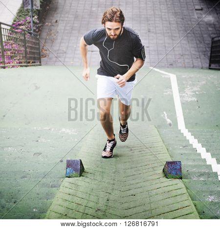 Male Men Active Exercise Healthy Sportman Fit Concept
