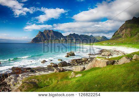 Beautiful view to Eggum beach in Norway Lofoten islands Norway