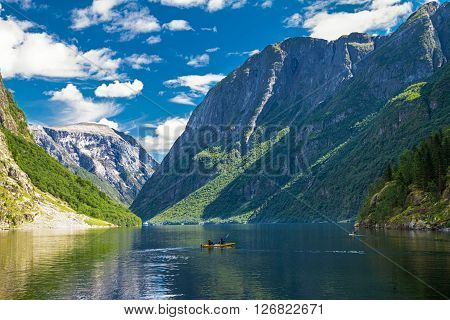 View to Neroyfjord - the narrowest fjord in Norway Gudvangen Norway poster