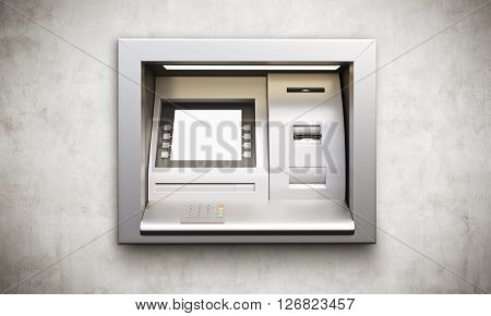 ATM machine with blank display built into conrete wall. Mock up 3D Rendering