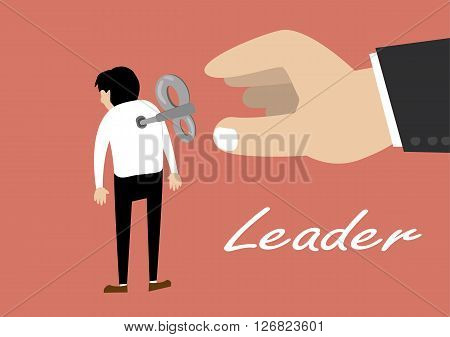 flat design vector of hand turns on a key winder clockwork on the employee back. leadership concept