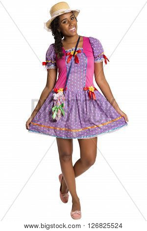 Girl Wearing Generic Caipira Clothes As In Every Festa Junina. - Brazil