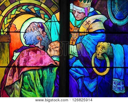 Saints Cyril And Methodius - Stained Glass By Alphonse Mucha