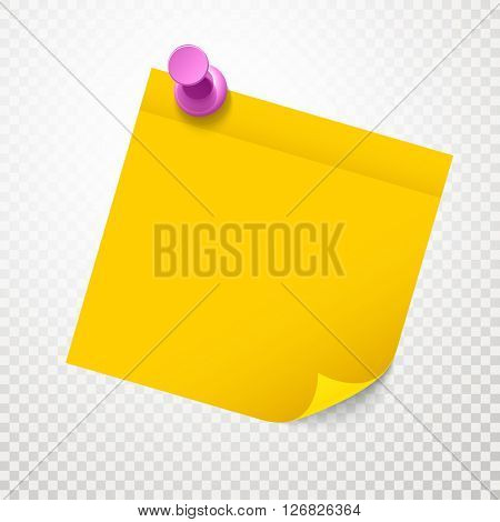 Blank yellow sticker with bending corner on transparent background