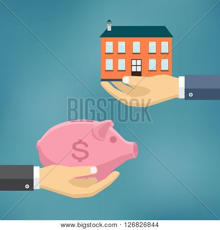 Ecommerce vector flat illustration. Hand with piggybank and hand with house.