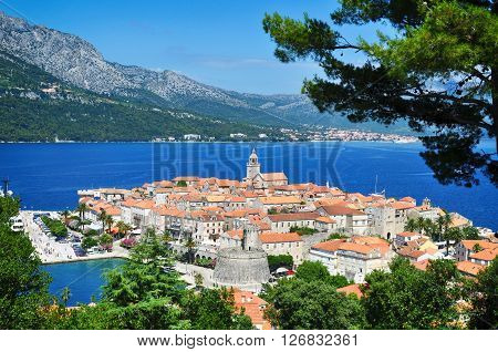 Panoramic view of Korcula town, Korcula island, Croatia, Europe.