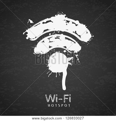 Vector Watercolor Illustration Of Wi-fi Zone Icon On Black Chalkboard Background.