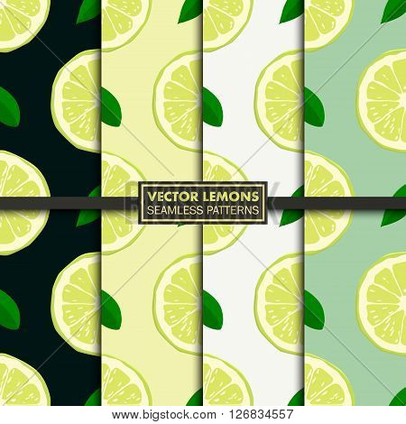 Set of seamless patterns with limes. Limes seamless pattern. Limes seamless pattern vector. Limes seamless pattern illustration. Limes seamless pattern art. Limes seamless pattern shape. Limes seamless pattern picture. Vector EPS10 illustration.