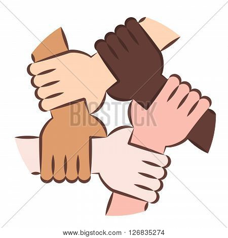 Solidarity Circle Colored Line Art. Five Hands Holding Each Other as an Interracial Solidarity