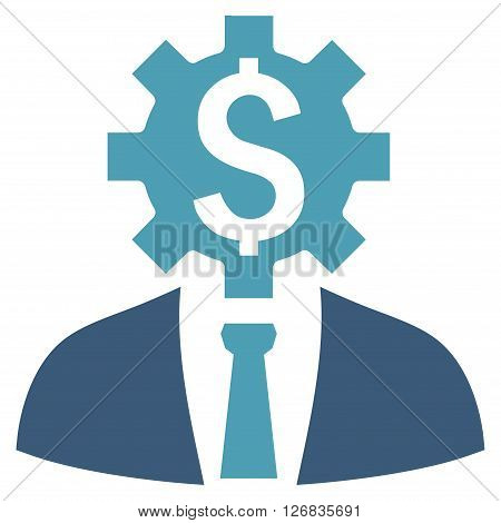 Office Worker vector icon. Style is bicolor flat symbol, cyan and blue colors, white background.