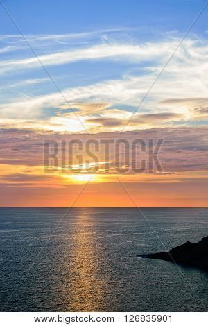 High angle view beautiful landscape of sunset over the Andaman sea from Laem Phromthep Cape scenic point is a famous attractions of Phuket Province in Thailand