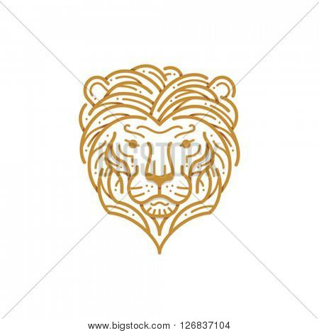 Lion Head Line Illustration