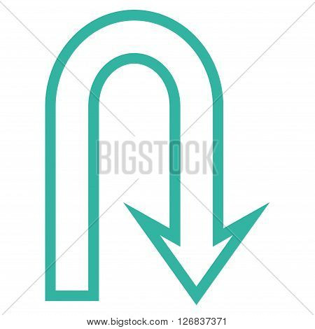 U Turn vector icon. Style is outline icon symbol, cyan color, white background.