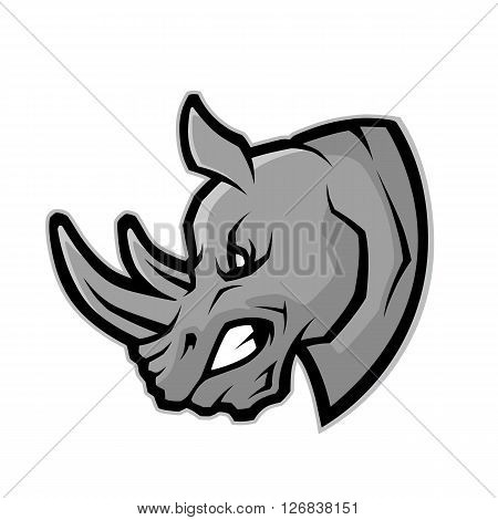 Clipart picture of a rhino head cartoon mascot character