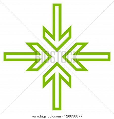 Implode Arrows vector icon. Style is contour icon symbol, eco green color, white background.