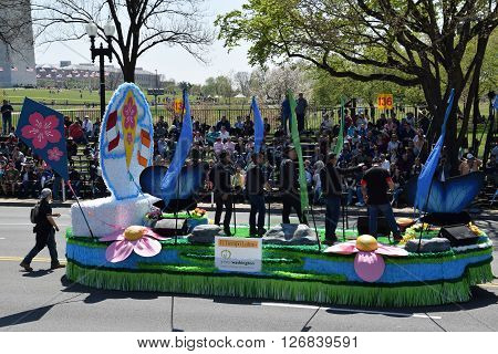 WASHINGTON, DC - APR 16: Float at the 2016 National Cherry Blossom Parade in Washington DC, as seen on April 16, 2016. Thousands of visitors gathered to attend this annual event.