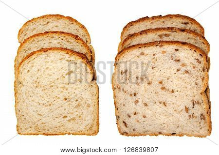 Multigrain light rye bread and cracked wheat bread