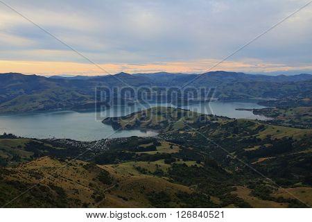 Banks Peninsula. Peninsula near Christchurch, New Zealand. Distant view of Akaroa.