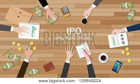 ipo initial public offering negotiation team work vector illustration
