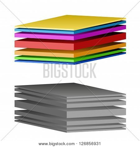 Technical illustration of a multilayer fabric. Demonstration of the structure of the material. 3D Illustration isolated on white background