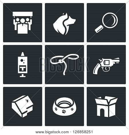 People, Dog, Magnifier, Syringe, Lasso, Gun, Building, Plate, Box