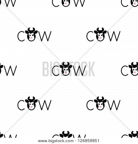 Seamless pattern with repeating spotted cow lettering o in the shape of cow`s head with horns isolated on white background